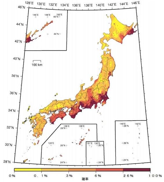 今後30年の地震発生確率分布